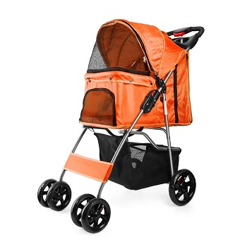 Flexzion Pet Stroller Carrier Cage 4-Wheeled