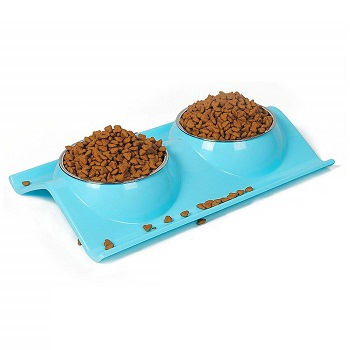 UPSKY Double Cat bowls set for feeding food and water