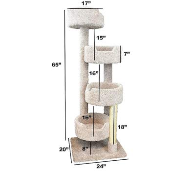 New Cat Condos Large Cat Tower with 4 Easy to Access Spacious Perches