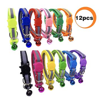 PACCOMFET 12 Pcs Breakaway Cat Collar Nylon Reflective with Bell