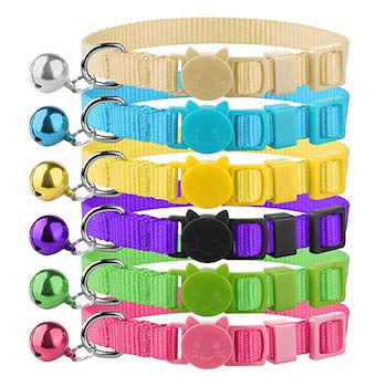 The Creativehome Cat Collars Nylon Soft Colorful Adjustable Breakaway Safety Kitten Collars with Bell