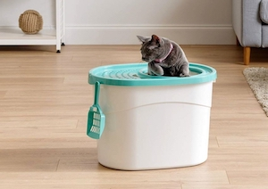 Top entry cat litter box