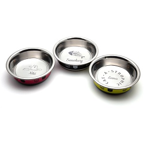 Bespoke Ancol Stainless Steel Personalized Cat Bowls